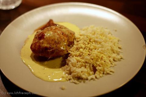 kyckling med ris och currysås